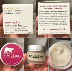 routine all natural baking soda-free deodorant sexy sadie calgary