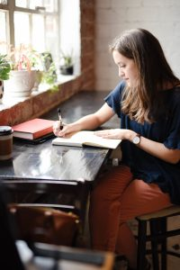 woman working creating writing